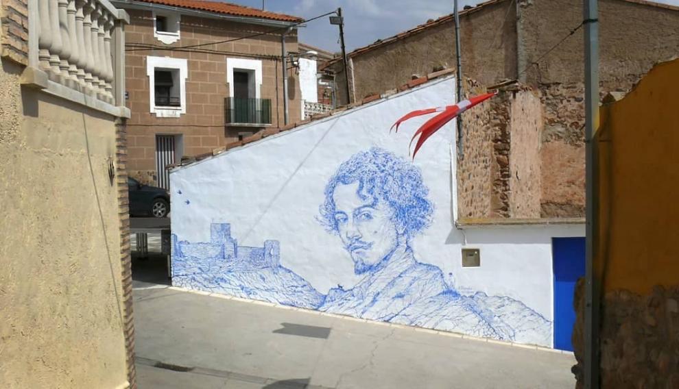 Mural sobre Bécquer de Adrián Pereda en Trasmoz.