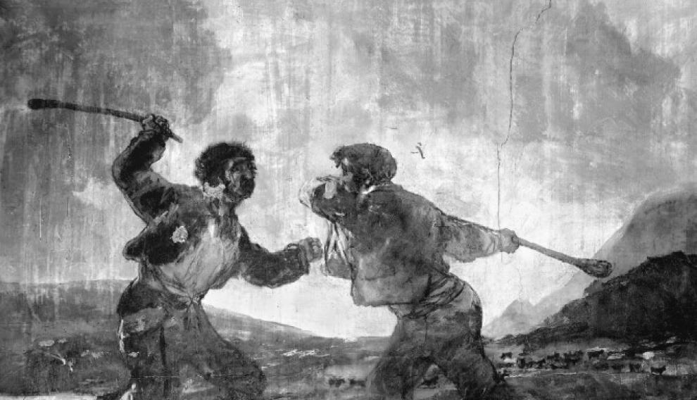Duelo a garrotazos, 1819-1824. Fotografía de J. Laurent. Instituto del Patrimonio Cultural de España.