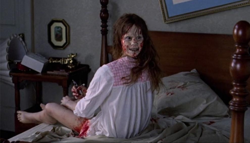 Linda Blair, de buen humor, en 'El exorcista'.
