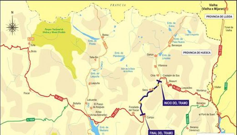 Mapa del tramo de la N-260 donde se va a actuar.