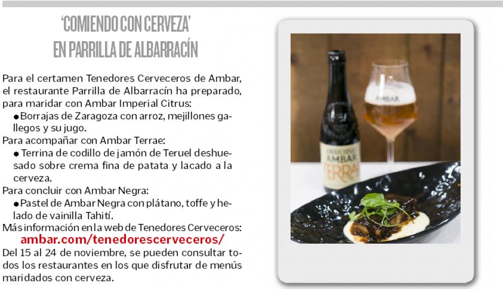 'Comiendo con cerveza' en Parrilla de Albarracín.