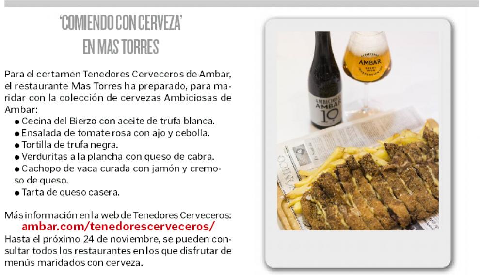 'Comiendo con cerveza' en Mas Torres.