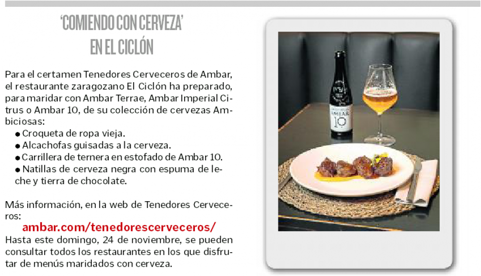 'Comiendo con cerveza' en El Ciclón.
