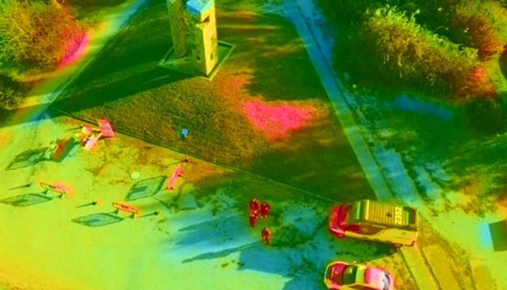 Imagen captada con la cámara térmica del dron.