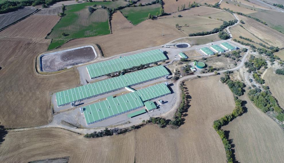Imagen desde el aire de la granja.