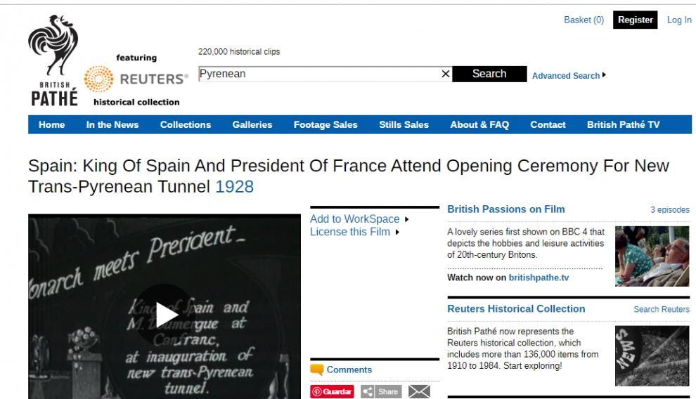 Página de British Pathé, donde está la grabación de la estación de Canfranc.