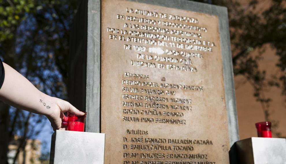 ARAGON ANIVERSARIO CASA CUARTEL ATENTADO DELEGADA VICTIMAS TERRORISMO / 10-12-2019 / FOTO: ARANZAZU NAVARRO [[[FOTOGRAFOS]]]