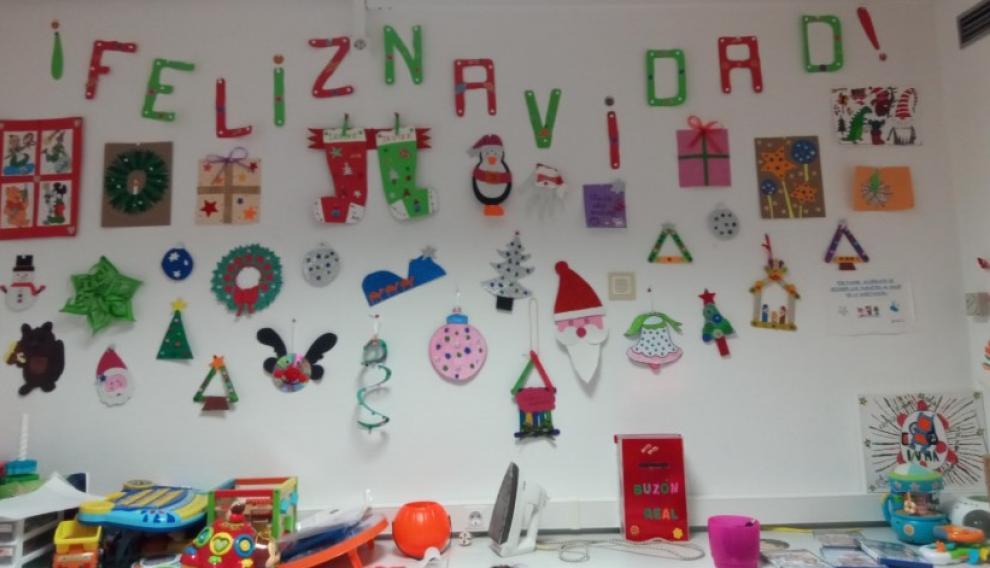 La decoración que han hecho los voluntarios de Aspanoa en Oncopediatría.