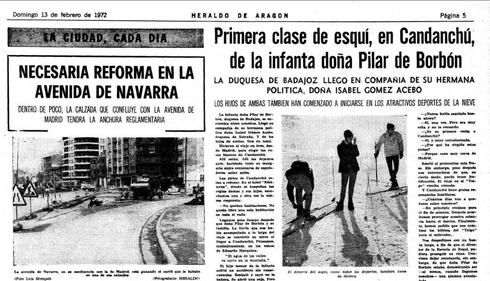 Así reflejó HERALDO la presencia de Pilar de Borbón y sus hijos en las pistas de Candanchú el 13 de enero de 1972