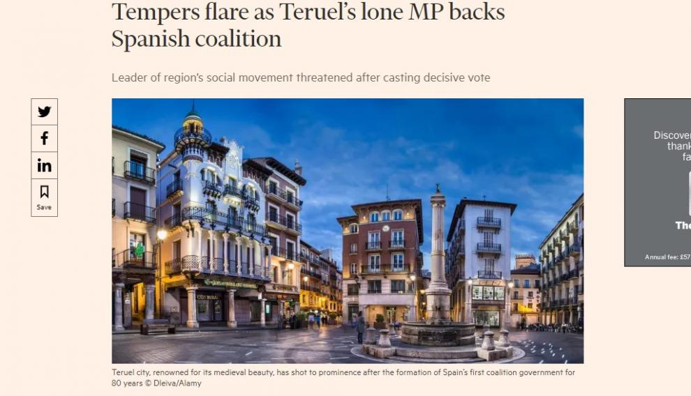 El reportaje sobre Teruel Existe en el 'Finantial Times'