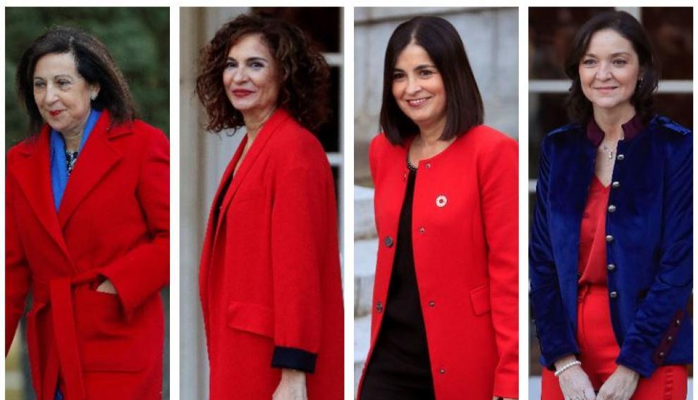 De izquierda a derecha, las ministras Robles, Montero, Darias y Maroto.
