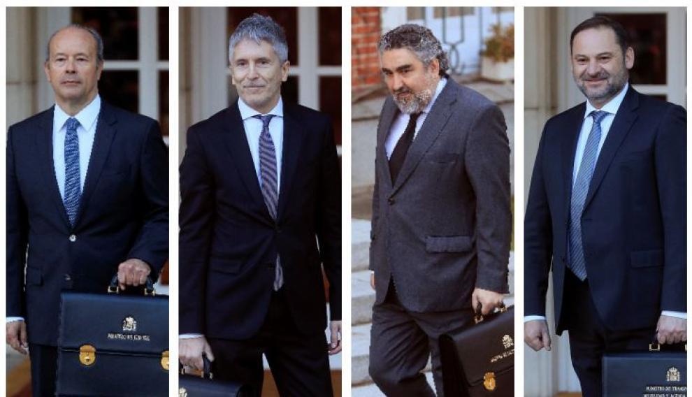 De izquierda a derecha, los ministros Campo, Grande-Marlaska, Rodríguez Uribes y Ábalos