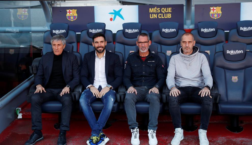 El nuevo cuerpo técnico del FC Barcelona: Quique Setien, Eder Sarabia, Jon Pascua y Fran Soto
