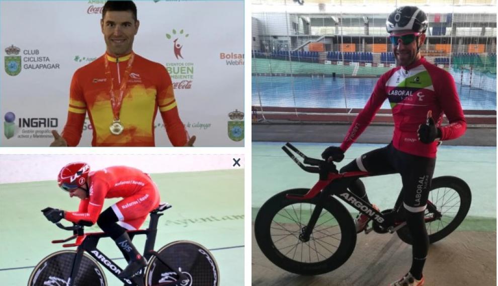 A la izquierda (arriba y abajo), Santas con la medalla de oro conquistada en la prueba de kilómetro en Galapagar (Madrid) a la que se uniría el oro en persecución individual; a la derecha, con la camiseta de su club, el Fundación Euskadi