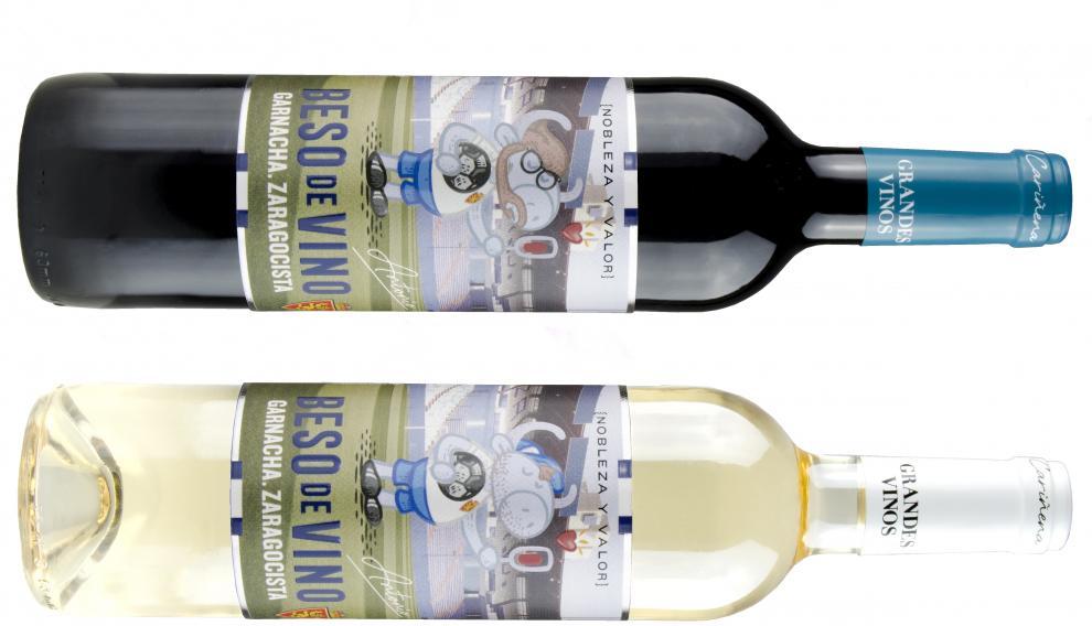 Las botellas de Beso de Vino Garnacha Zaragocista blanco y tinto.