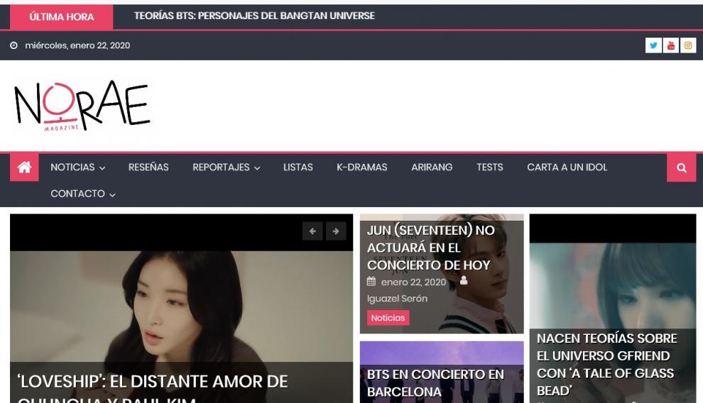 Imagen del portal de la revista 'Norae Magazine', que se hace en Zaragoza.