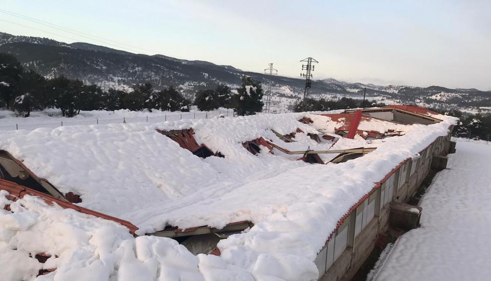Una explotación cubierta de nieve en la provincia turolense.