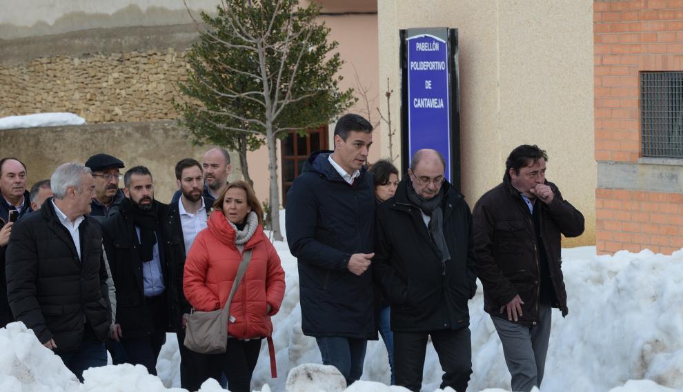 Pedro Sánchez visita Cantavieja para conocer los daños del temporal.