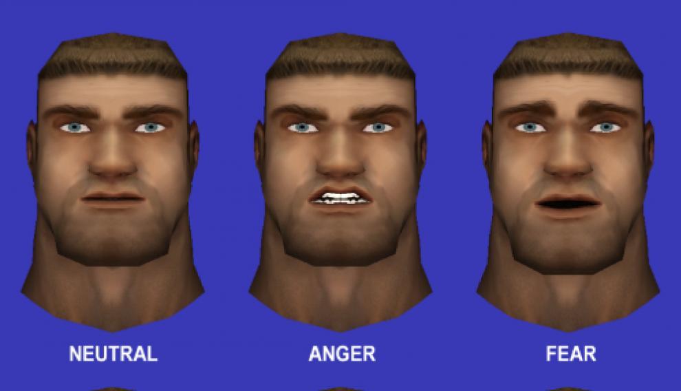 Personajes virtuales que expresan emociones a través de sus expresiones faciales.