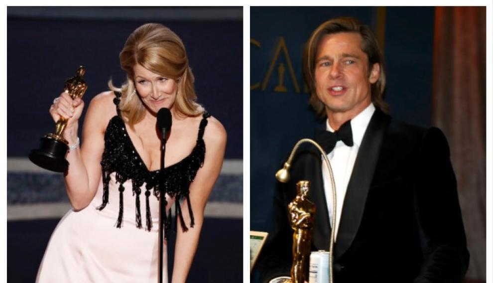 Laura Dern, por 'Historia de un matrimonio', y Brad Pitt, por 'Érase una vez... en Hollywood', se llevaron los Óscar de mejor actriz y mejor actor de reparto, respectivamente.