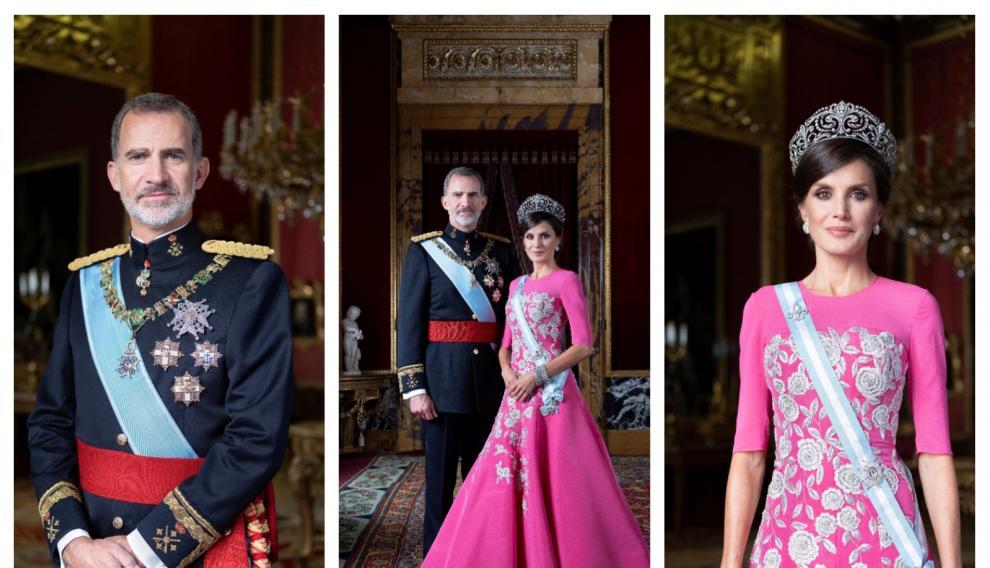 Nuevo retrato oficial de los Reyes, de gala, realizado recientemente en el Palacio Real