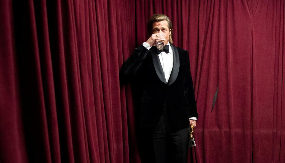 Brad Pitt, en las bambalinas del Dolbt Theatre tras ganar el Óscar.