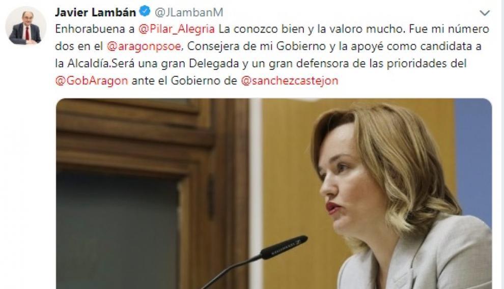 Imagen del tuit de Javier Lambán