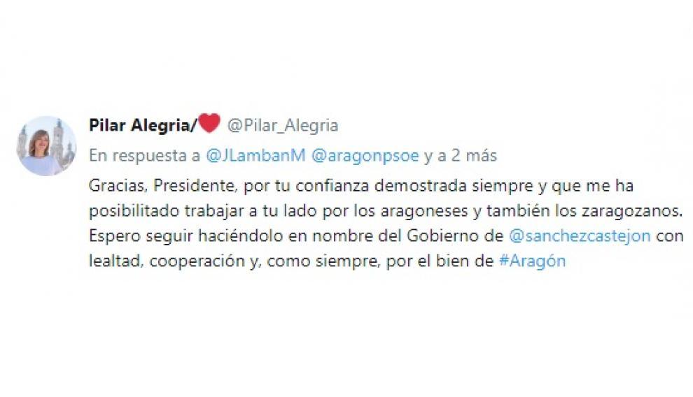 Respuesta de Pilar Alegría al tuit de Lambán
