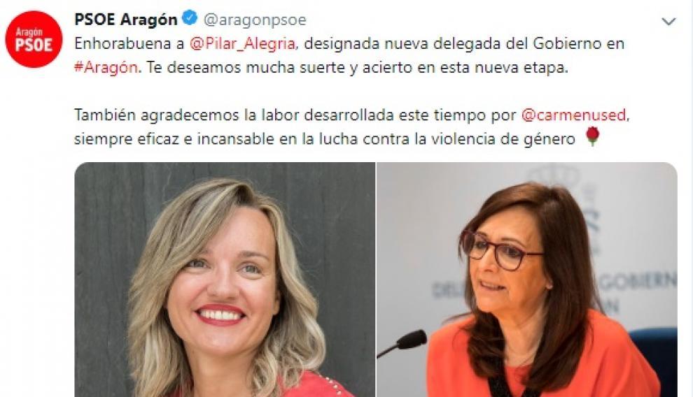 Tuit del PSOE-Aragón