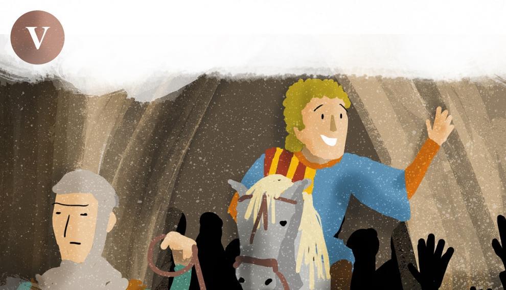 Dibujo del regreso de Diego de Marcilla a Teruel sano y salvo