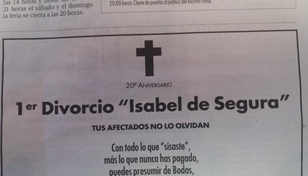 Esquela publicada en el Diario de Teruel con el inicio de las fiestas de Las Bodas de Isabel de Segura.