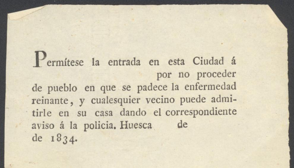 Billete que autorizaba a entrar en Huesca por proceder de un lugar sin enfermedad en 1834.