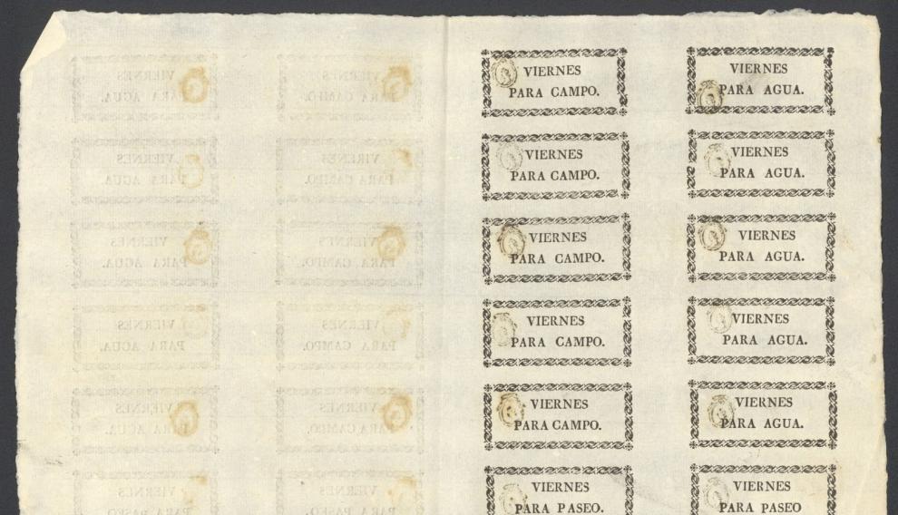 """Impreso con papeletas para salir en viernes """"para campo"""", """"para agua"""" o """"para paseo"""", del año 1834."""