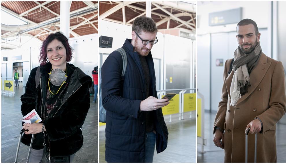 Julia, Michele (participantes en FIMA) y Michele a su llegada a la capital aragonesa desde Bérgamo.