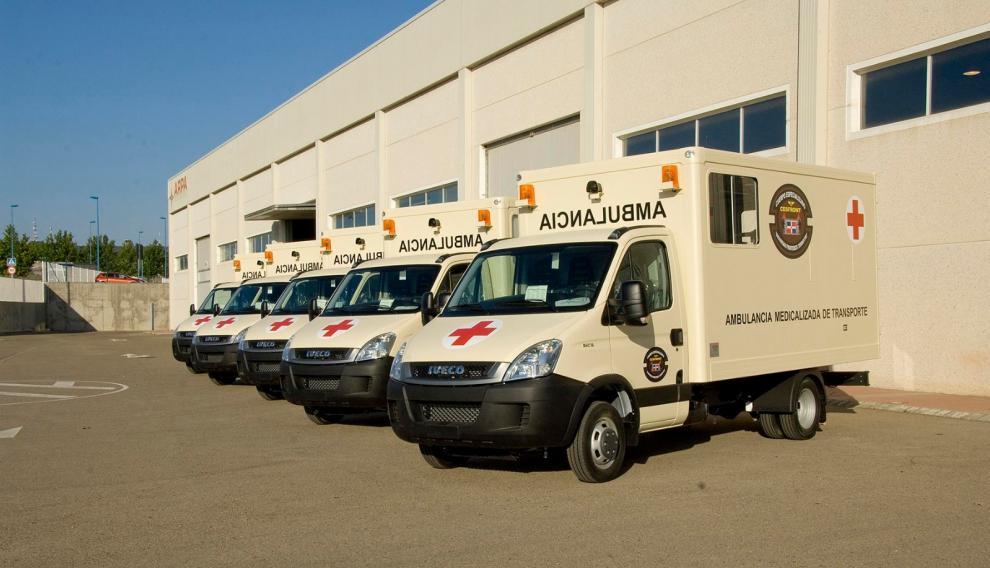 Ambulancias en la sede de ARPA en La Muela