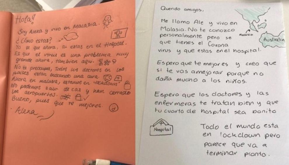 Dos de las cartas de ánimo escritas por alumnos de español de Kuala Lumpur.