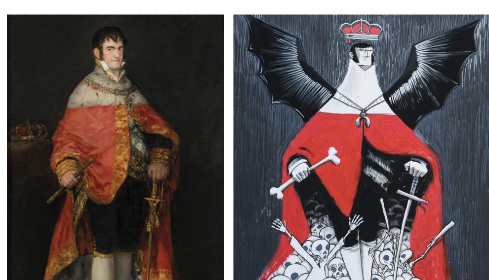 A la izda, la obra original 'Fernando VII'. A la derecha, la reinterpretación de la obra de David Guirao.