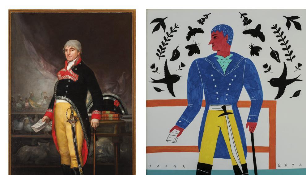 A la izda., la obra original 'Retrato de Félix de Azara'. A la derecha, reinterpretación de esta obra por parte de Harsa.
