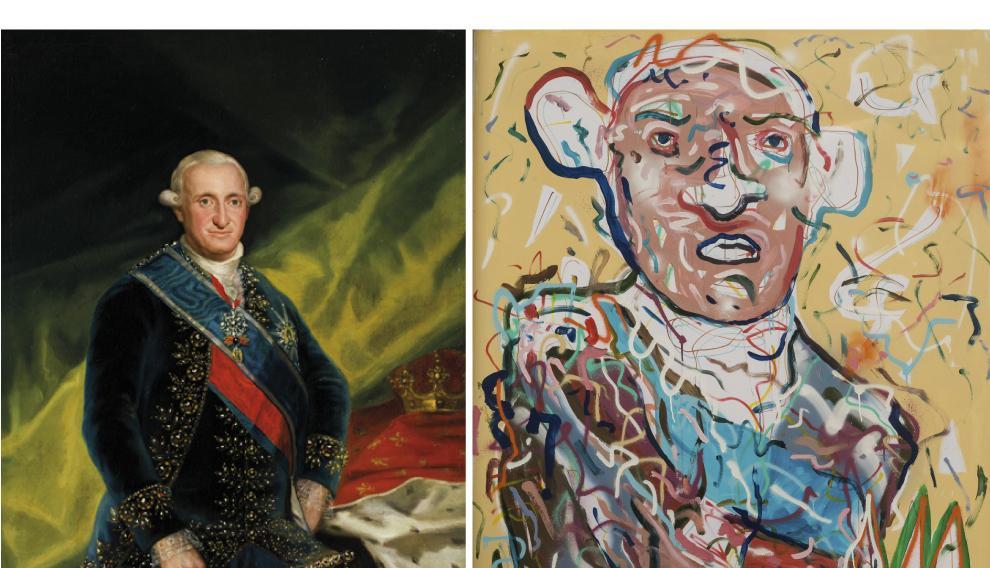 A la izda., la obra original 'Retrato del rey Carlos IV'. A la derecha, reinterpretación de esta obra por parte de Javier Remírez.