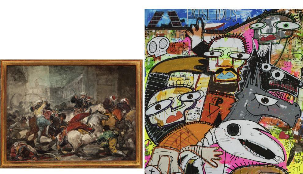 A la izda., la obra original 'El dos de mayo de 1808'. A la derecha, reinterpretación de esta obra por parte de Gejo.