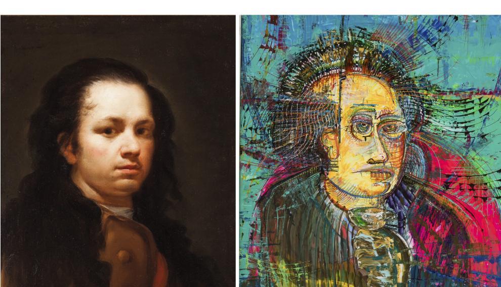 A la izda., la obra original 'Autoretrato'. A la derecha, reinterpretación por parte de Federico Contín.