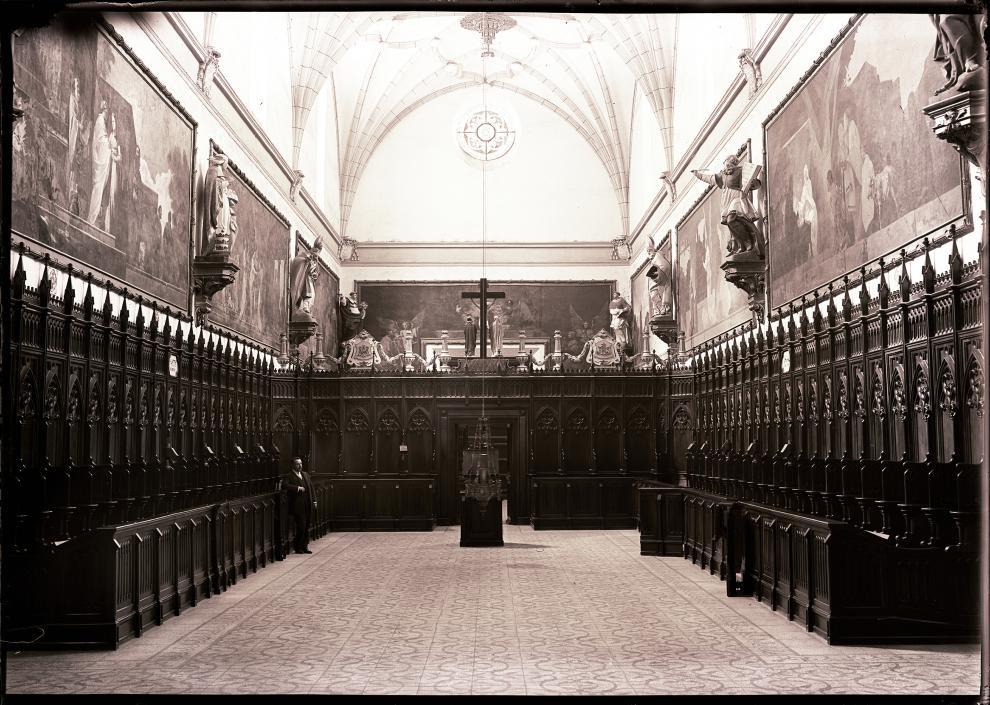 """Vista de la cartuja de Aula Dei en 1916, durante la visita de unos """"artistas de fama""""."""