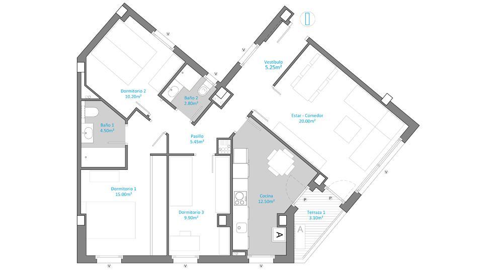 Plano 3 Aljafería Suites