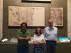 Juan Manuel Bote, Belén Luque y Juan Carlos Moreno delante de los 3 fragmentos de las pinturas de Urriés expuestos en el Museo Diocesano de Jaca.