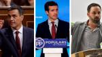 Combo de imágenes de Sánchez (PSOE), Casado (PP) y Abascal (VOX)