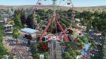Vista general del Parque de Atracciones de Zaragoza recreada en el videojuego Planet Coaster
