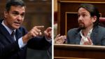 Pedro Sánchez y Pablo Iglesias este miércoles en el Congreso