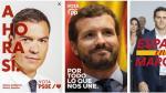Carteles de PSOE, PP y Ciudadanos para la actual campaña electoral.