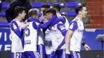 Los jugadores del Real Zaragoza celebran el tercer gol anotado el martes en la eliminatoria ante el Mallorca, al que ganaron por 3-1.