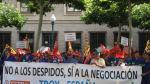 Los trabajadores de Trox en una protesta en Zaragoza ante la DGA, en una imagen de archivo.